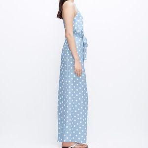 Ann Taylor Blue & White Polka Dot Maxi Dress